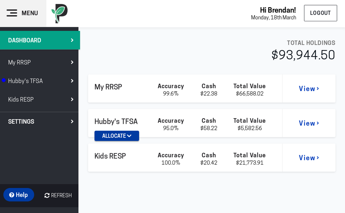 A screenshot of the Passiv dashboard.