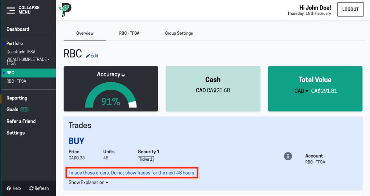 Image of Passiv account with Wealthica trade