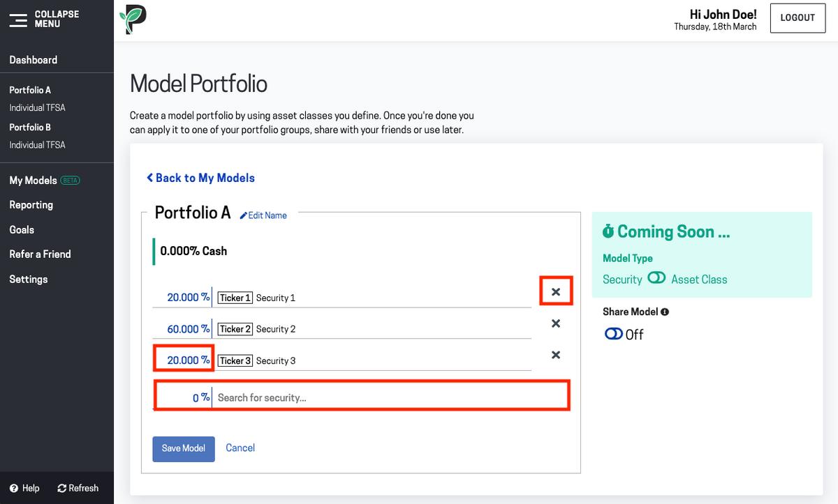 Image of model portfolio edit mode in Passiv
