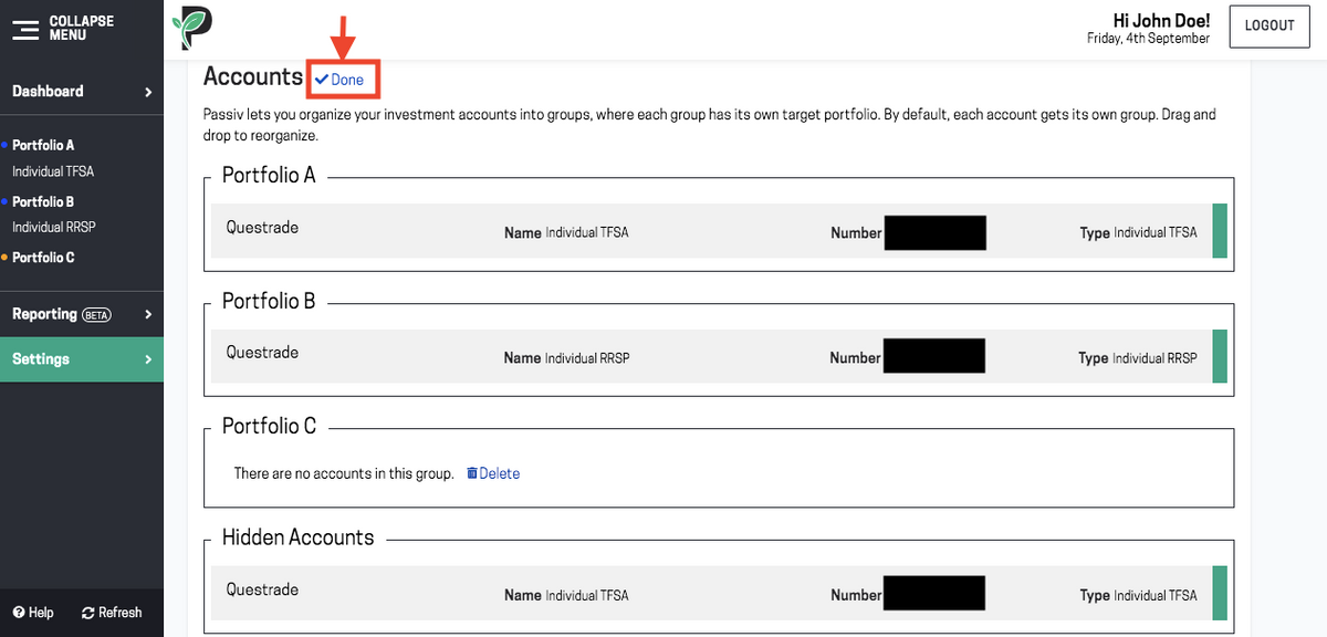 Image of account group in Passiv