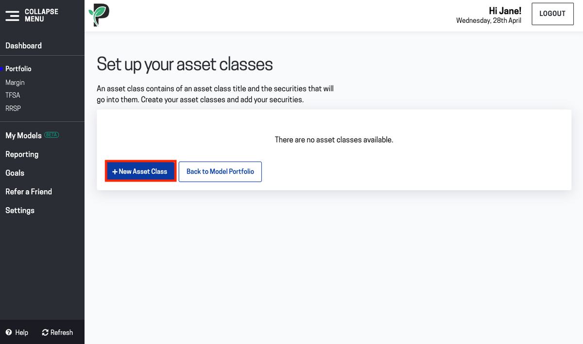 Image of add new asset class in Passiv
