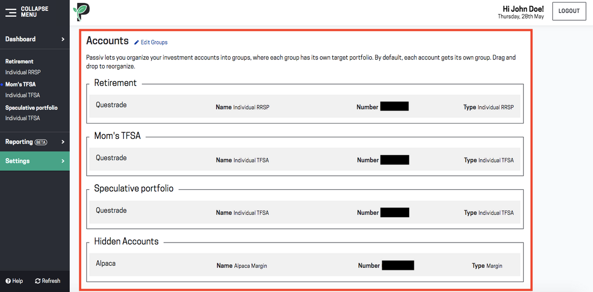 Image of using Passiv multi-account portfolio feature