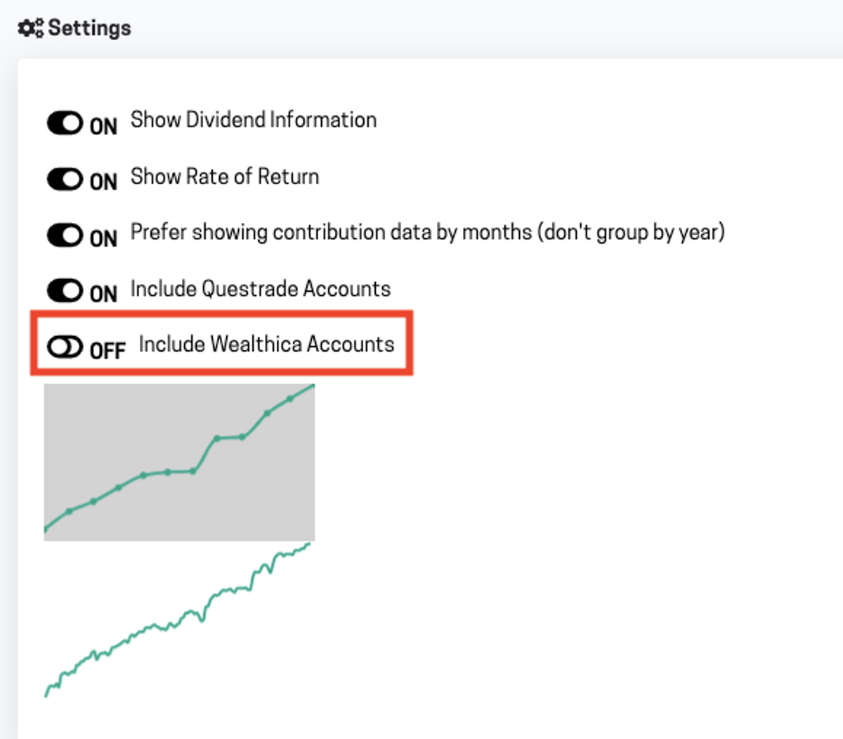 Wealthica reporting settings