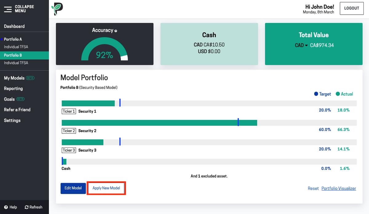 Image of apply new model in portfolio group in Passiv