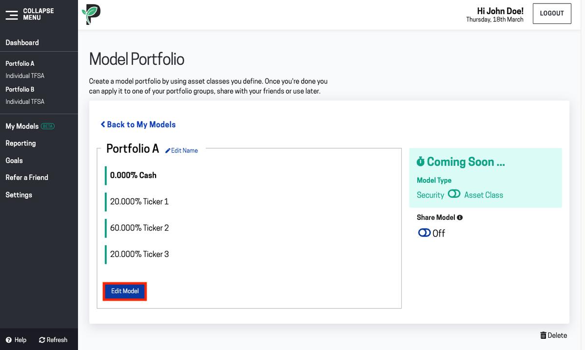 Image of edit model portfolio in Passiv