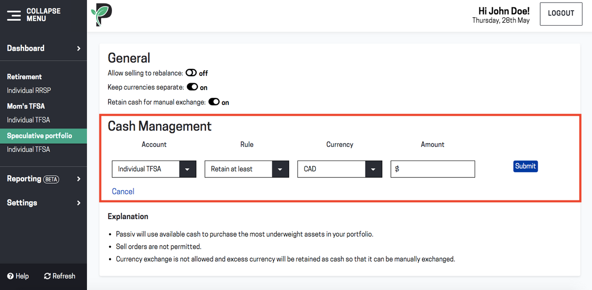 Image of using Passiv cash management feature