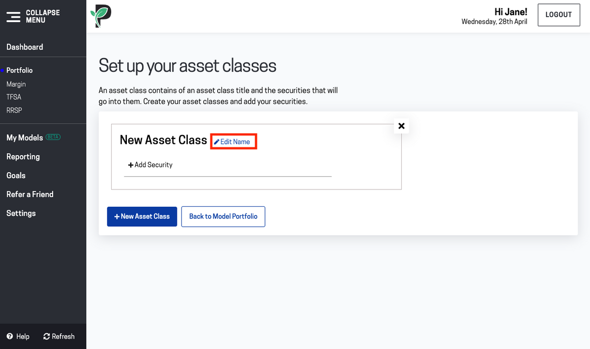 Image of edit asset class name in Passiv