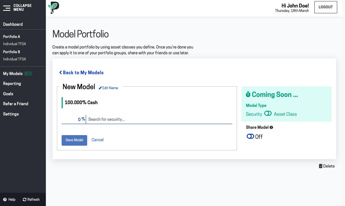 Image of edit new model portfolio in Passiv