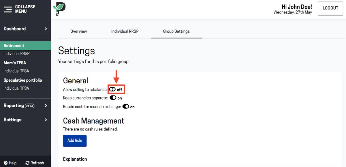 Image of rebalance your portfolio with Passiv