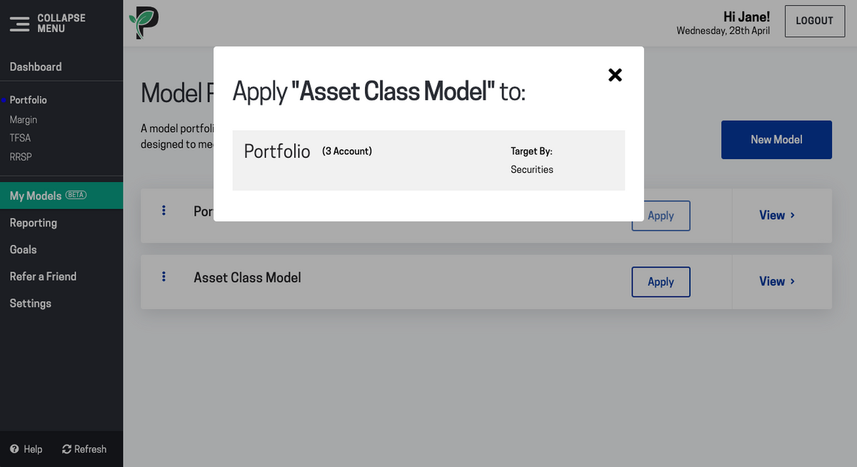 Image of choose portfolio to apply model in Passiv
