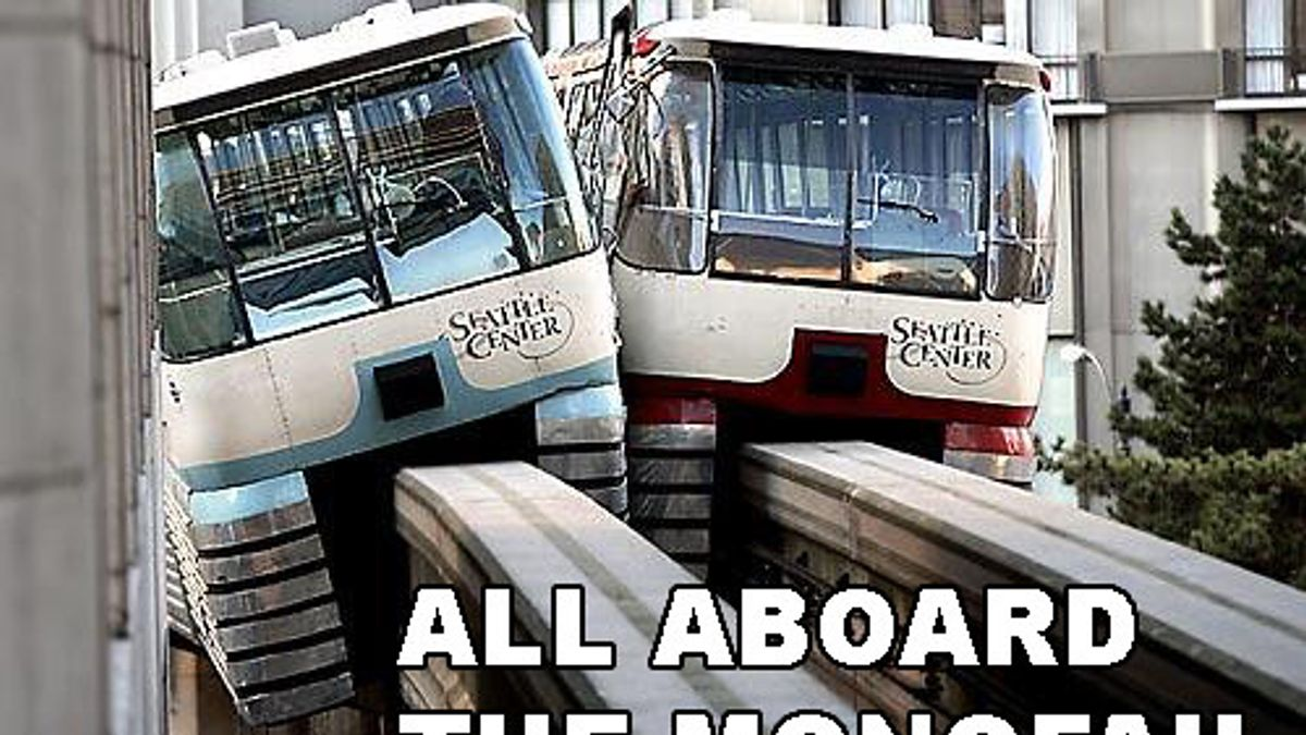 Two monorail trains colliding