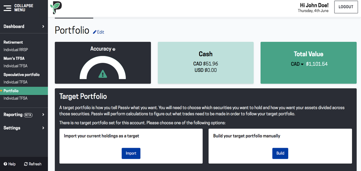 Screenshot of options for setting up your target portfolio in Passiv
