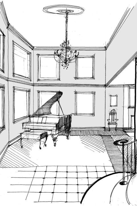 Arlington House music room sketch