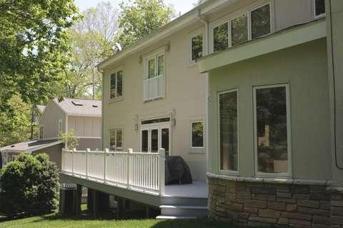 Cabin John rear facade with deck detail