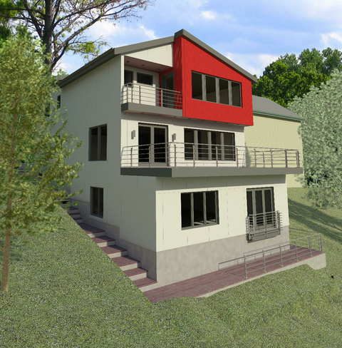 Pre-visualization of rear facade from an angle