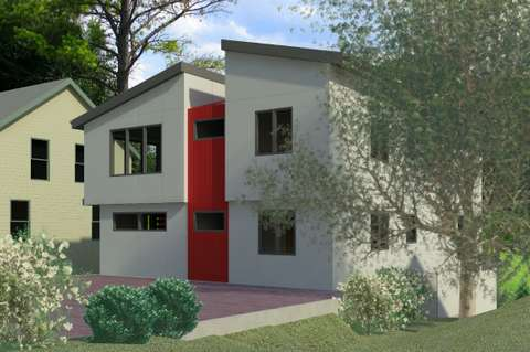 Pre-visualization showing street facade