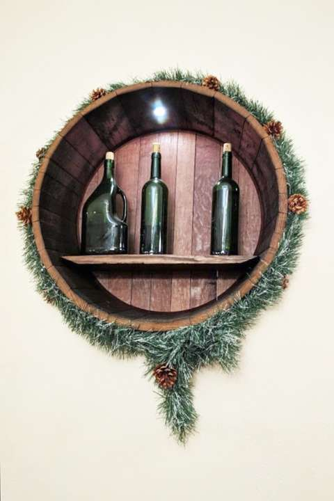 Troika Restaurant display nook with bottles holiday edition