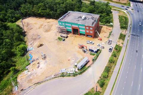 Aerial view of Star Pointe in Montgomery County, MD under construction