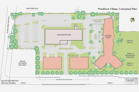 Woodlawn Village Conceptual Plan that would include the existing IMP Building as well as a proposed Marriott Hotel and two office buildings, Alexandria, VA