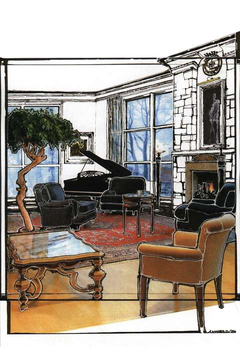 Sketch of the Cascade Estates Recreation Center's multipurpose room with grand piano and fireplace