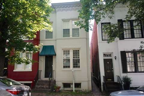 Full interior renovation of historic Georgetown, Washington, DC rowhome - front facade