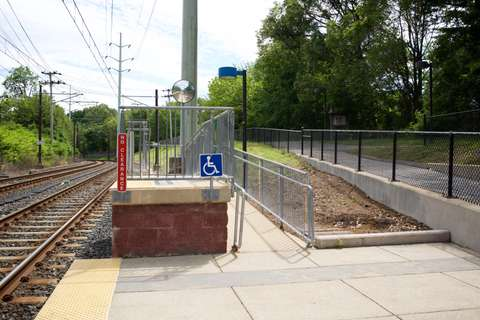 MTA Linthicum station accessibility ramp detail. Linthicum Heights, MD.