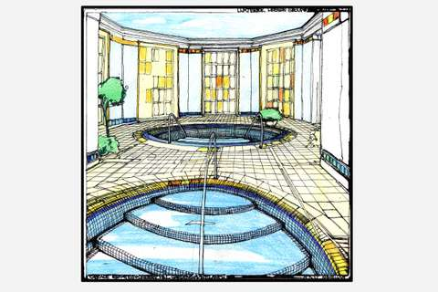 Sketch of the Cascade Estates Recreation Center's pool and hot tub