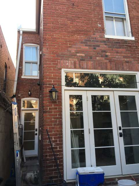 Historic Georgetown rowhome in Washington, DC back patio renovation under construction