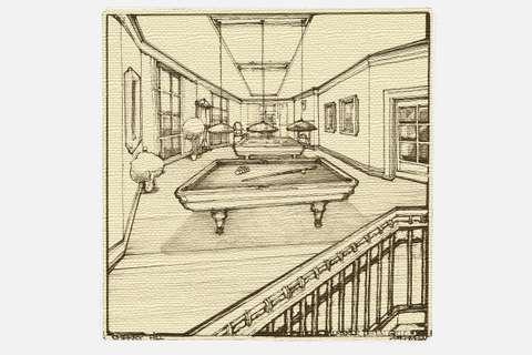 Sketch of the Cascade Estates Recreation Center's billiard room