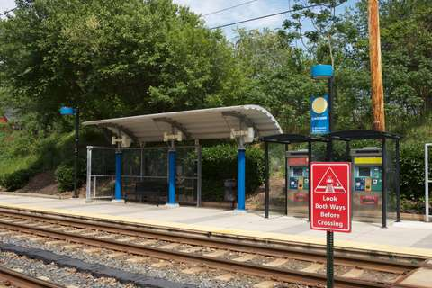 MTA Linthicum station pavilion detail on north bound platform. Linthicum Heights, MD.