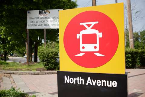 MTA North Ave Light Rail Station signage detail, Baltimore, MD