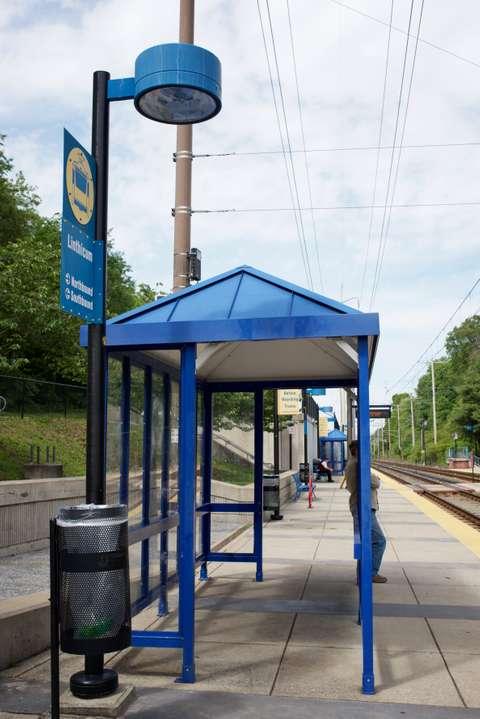 MTA Linthicum station platform shelter detail. Linthicum Heights, MD.