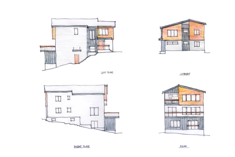 Music & Arts Atelier hand-drawn sketch featuring all four facades