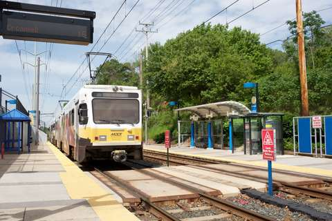 Train arriving at MTA Linthicum Light Rail station in Linthicum Heights, MD
