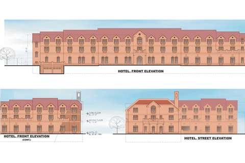Marriott Hotel & Office Buildings conceptual design in Woodlawn Historic District, Alexandria, VA