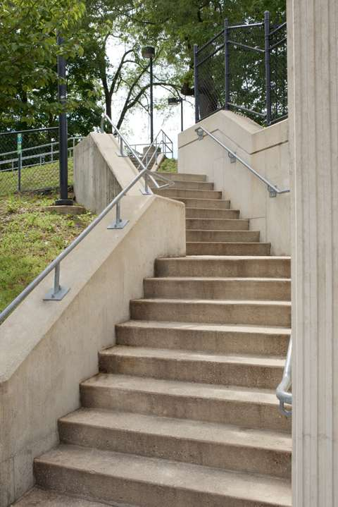 MTA Linthicum station stair detail with western retaining wall. Linthicum Heights, MD.