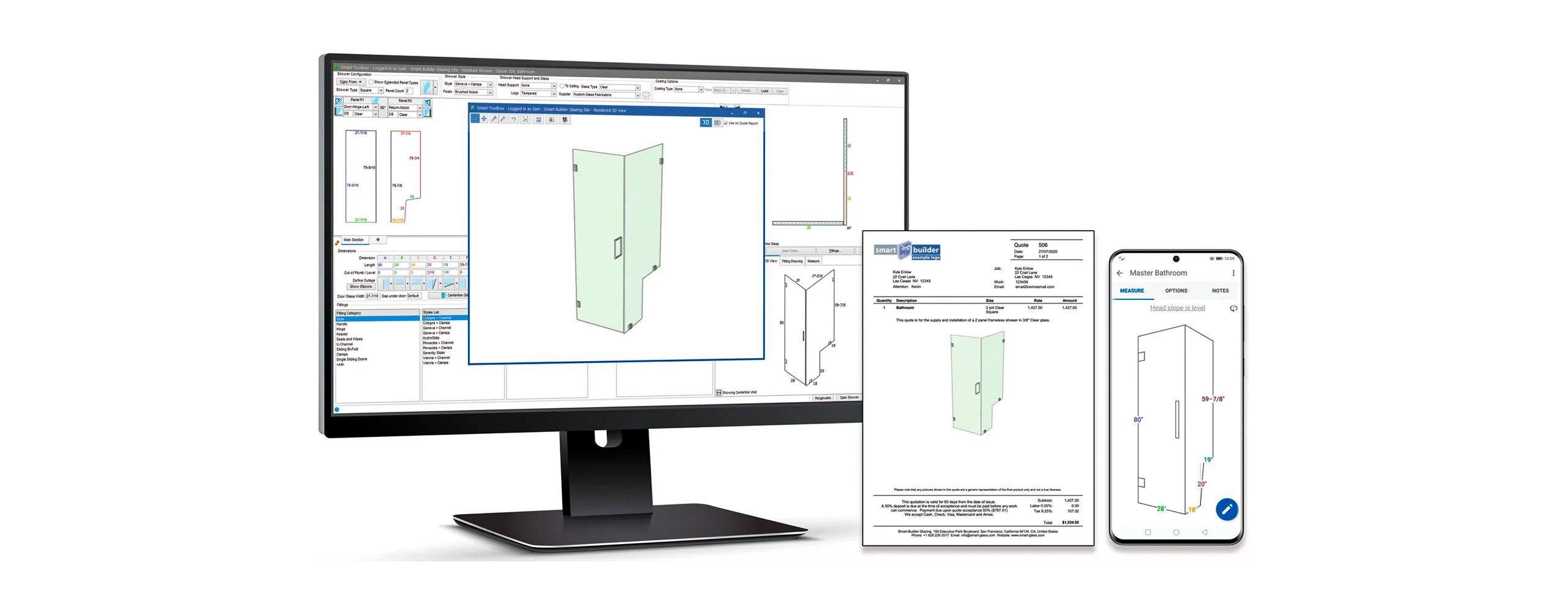 Shower Design Software - glass software for installers