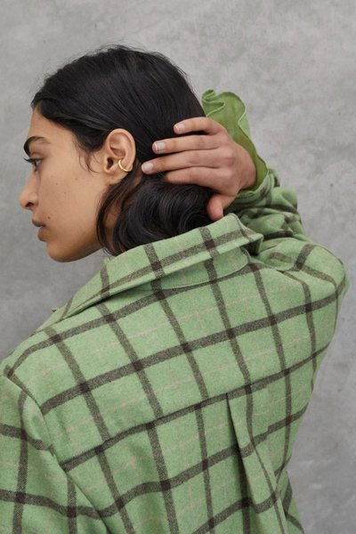 Close up back shot of model wearing the Early Mornings Shacket.