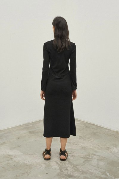 Back shot of model wearing the Could Have Been Yours Dress in Black.