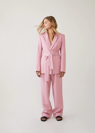 Model wearing the Have The Faith Blazer with the Bobbi Boyfriend Pants in Pink Check.