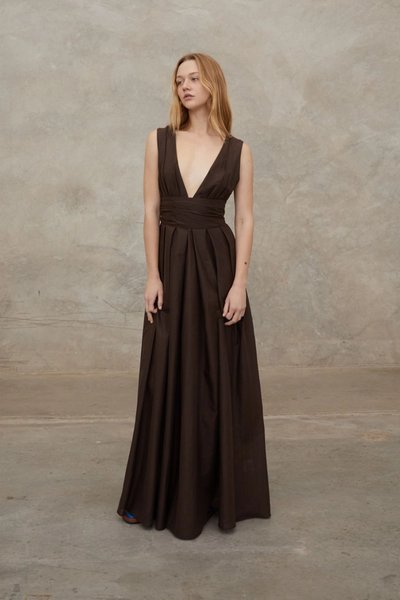 Model wearing the Out of Office Dress in Dark Choc.