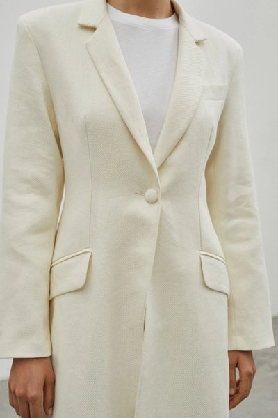 Close up of model wearing the Sprinkling of Strength Coat Ivory with the 01 Leggings Ivory.