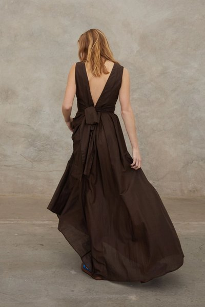 Back shot of model wearing the Out of Office Dress in Dark Choc.