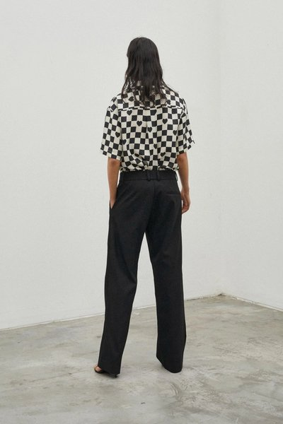 Back shot of model wearing the See You At Coco's Cantina Shirt in Ivory Black Check and the Bobbi Boyfriend Pant Black.