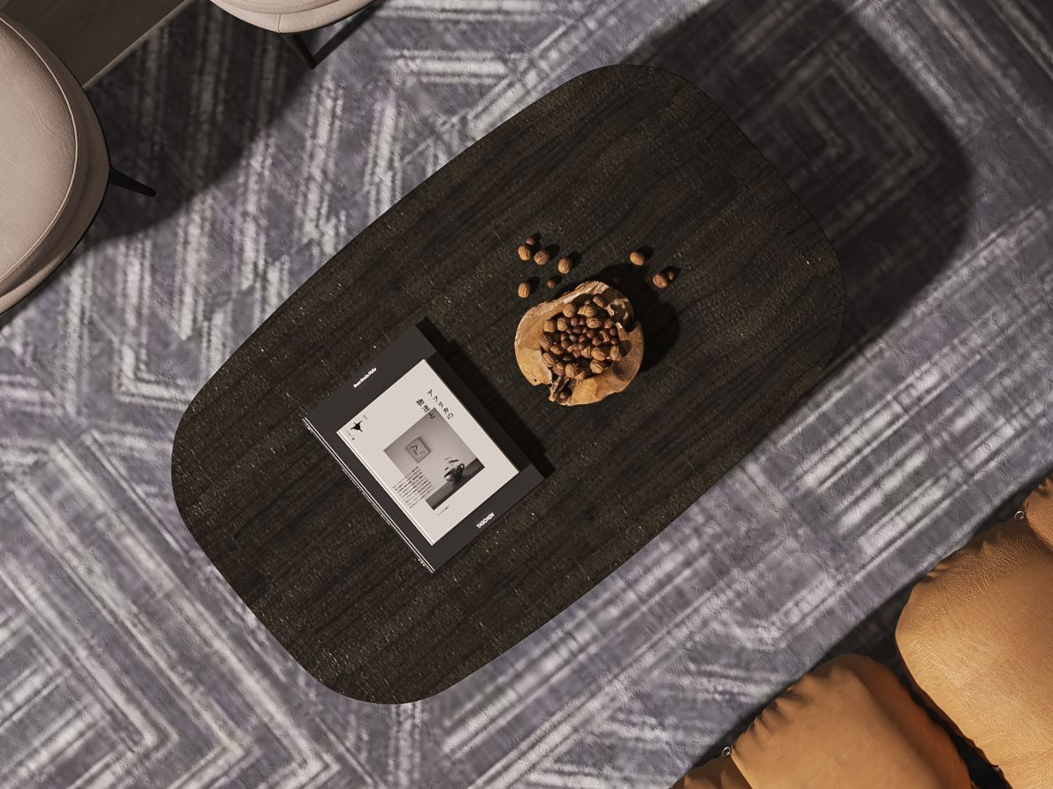A zoom-in detail on coffee table