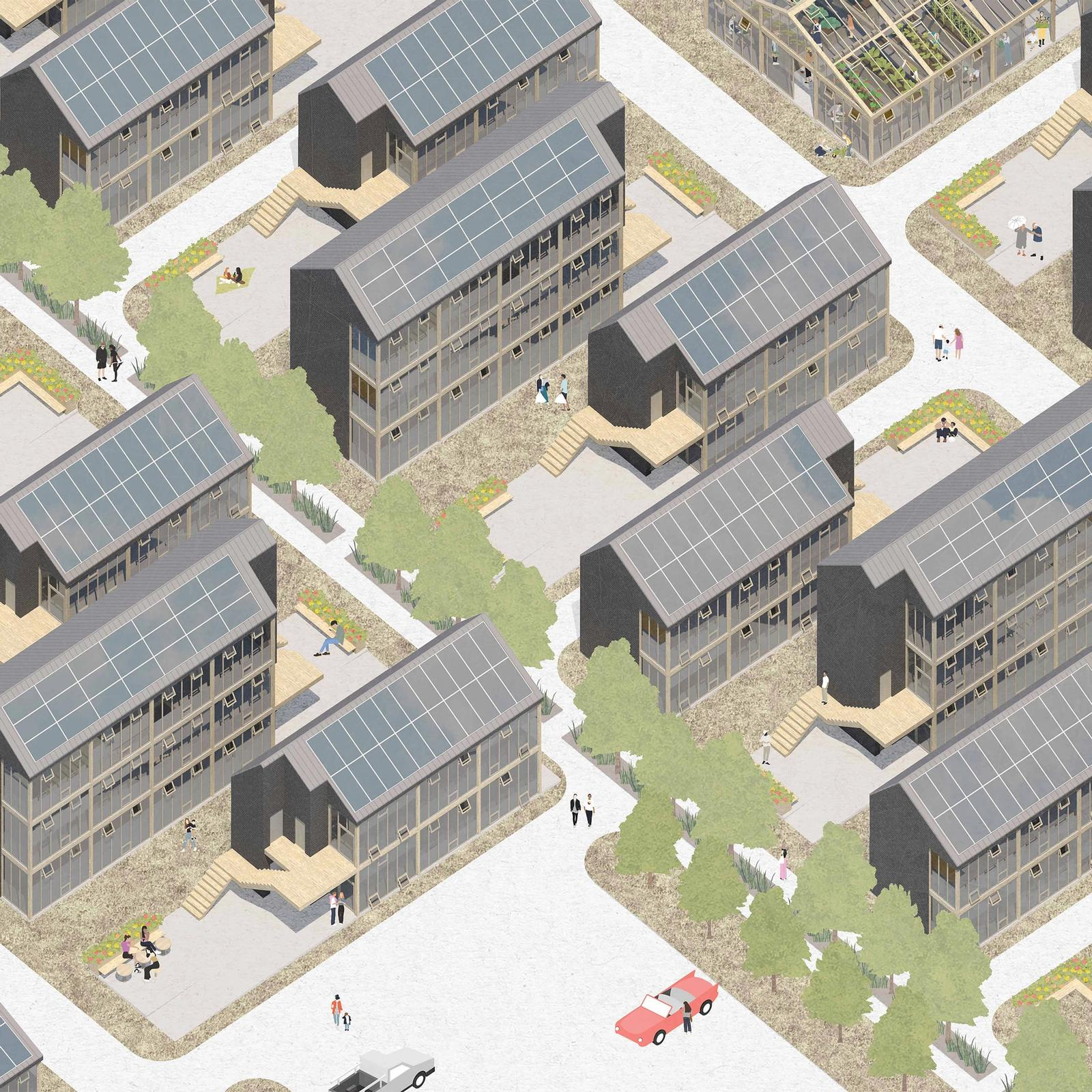 Outer Mix - Investigating mixed-use development on the Outer Cape - Render Aerial