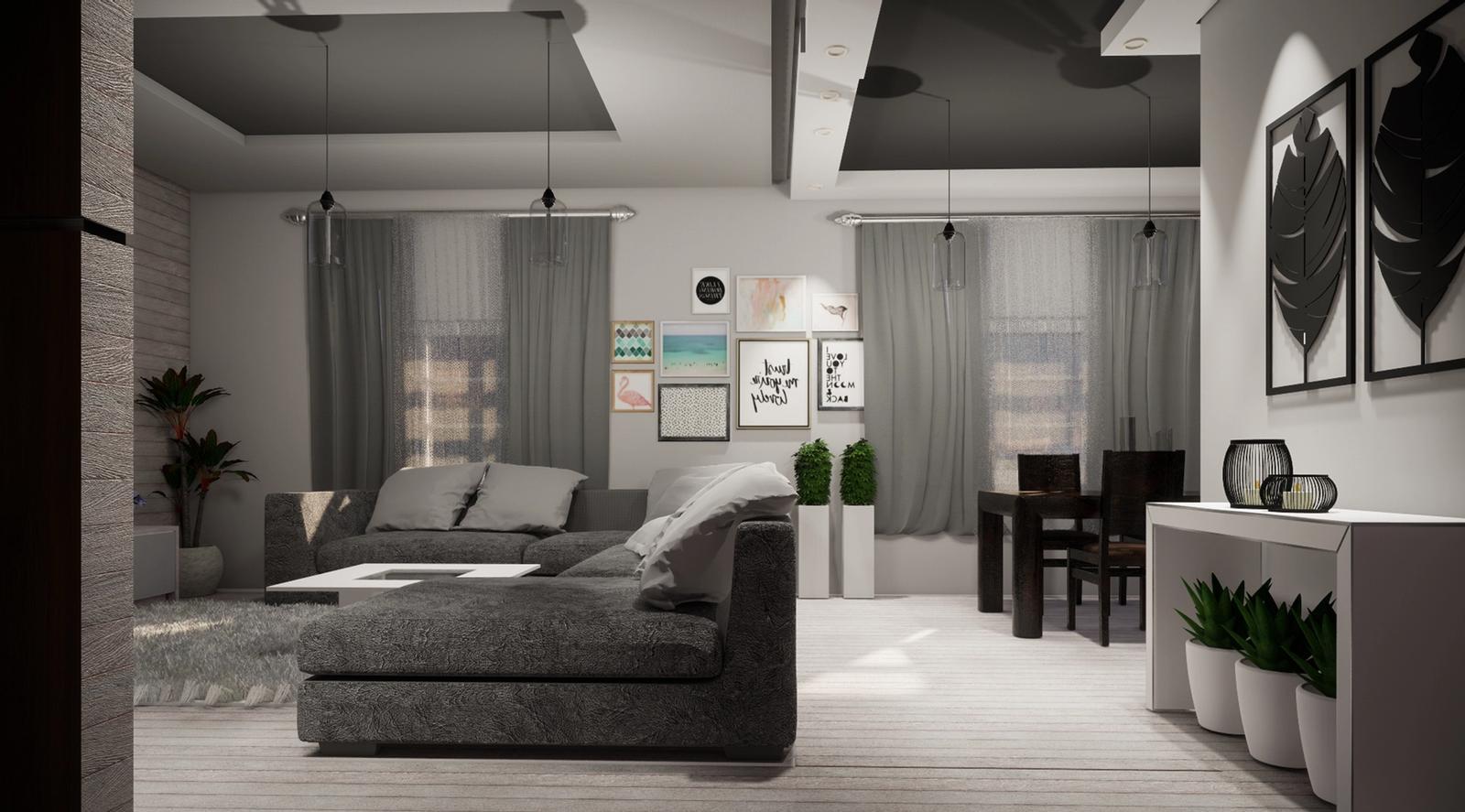 Scandinavian Living Room Modeling and Visualization ( SketchUp + Enscape )