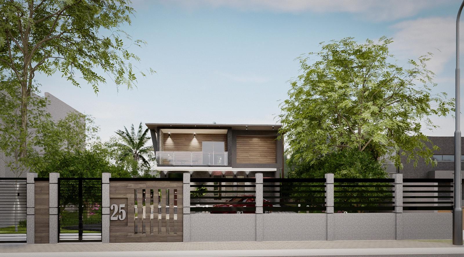 Modern Villa - Street Exterior modeling and visualization ( SketchUp + D5 Render )