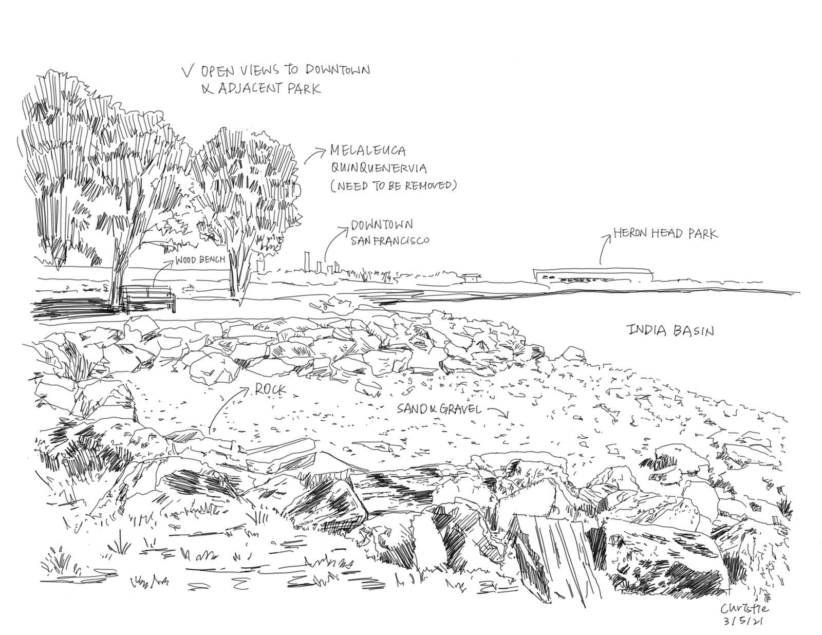 India Basin Park, San Francisco - Site Inventory Sketch 2