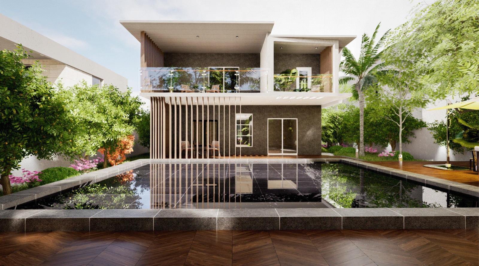 Modern Villa - Backyard Exterior 3 Modeling landscape and Visualization ( SketchUp + D5 Render )